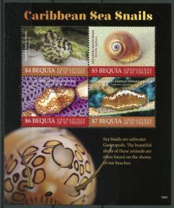 Bequia Grenadines St Vincent 2019 MNH Caribbean Sea Snails 4v M/S Marine Stamps