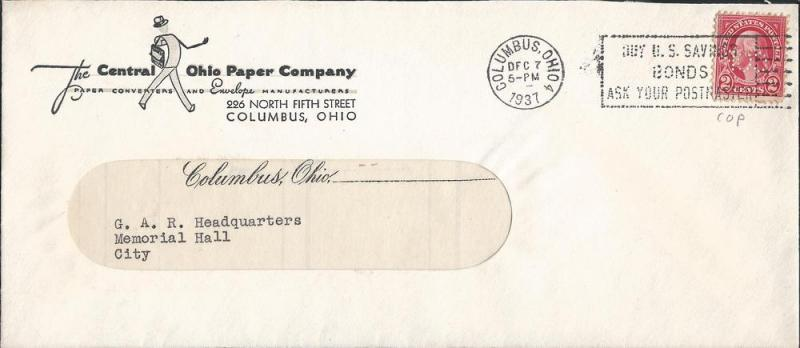 # 634 on Legal Size Window Envelope, c/c for The Central ...