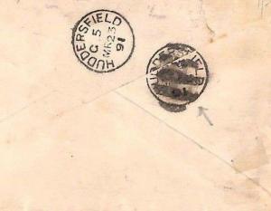 ZZ144 USA Cover 1891 Philadelphia Transatlantic HUDDERSFIELD Error CDS Yorks GB