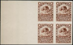 #RO58P4 UNLISTED XF BLK/4 PROOF ON CARD 1¢ CARDINAL MATCH Co. BP4394