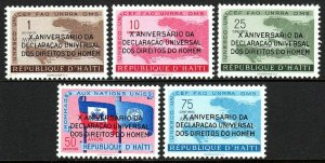 Haiti 442-443,C136-C138,MNH.Declaration of Human Rights.Ovptd.in Portuguese,1959
