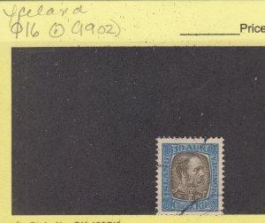 J29085, 1902  iceland  used #o16 king