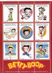 Comoro islands 1998 Betty Boop Sheet (9)+1 s/s Perforated mnh.vf