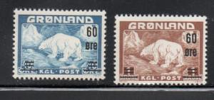 Greenland Sc 39-40 1956 Polar Bear stamp set surcharged mint NH
