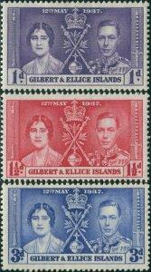 Gilbert & Ellice Islands 1937 SG40-42 Coronation set MNH