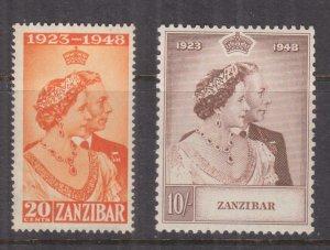 ZANZIBAR, 1948 Silver Wedding pair, mnh.
