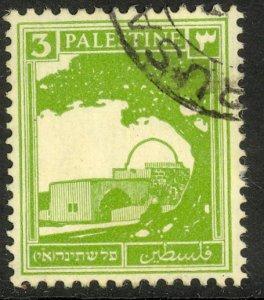 PALESTINE 1927-42 3m Yellow Green RACHEL'S TOMB Pictorial Sc 64 VFU