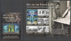 T0582 2015 GRENADA CARRIACOU WORLD WAR I ART FRONT LINES MICHEL 24 EU KB+BL MNH