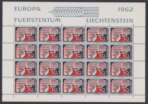 Liechtenstein Clasped Hands Europa 1962 issue 1c Full Sheet D1 SG#413 SC#370