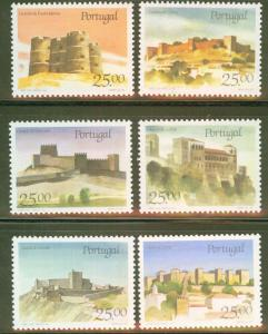 Portugal Scott 1688-93 castle set CV $5.20 1987 short set