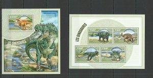 ST2758 2014 Niger Faune Préhistorique Animaux Dinosaures 1KB+1BL MNH