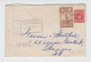 Yarmouth Nova Scotia 1947 Registered War Issue Canada cover