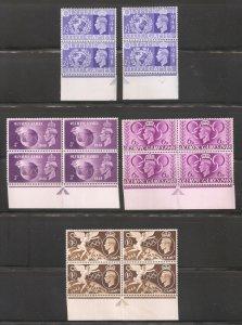 1948,KGVI Omnibus Olympic Issue,Pairs & Blocks Scott # 271-274,VF MNH** (Lот-1)