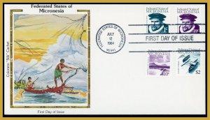 Micronesia FDC #5;10;13;19  de Quiros/Sleeping Lady/Canoes U/A Colorano
