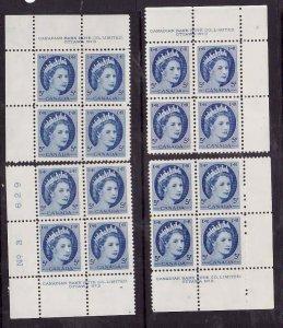 Canada-Sc#341- id5-unused,NH 3c QEII Wilding-plate #3-all 4 corners-1962-