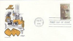 1996, 50th Anniv. Fulbright Scholarships, Artmaster, FDC (D13434)