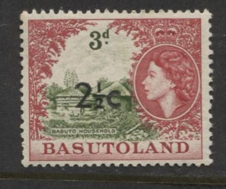 Basutoland -Scott 64-Surcharge New Value -1961-MNH -Single 2.1/2c on a 3d Stamp