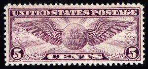 US STAMP #C12 – 1930 5c Winged Globe Flat Plate P 11 MNH/OG natural gum skip