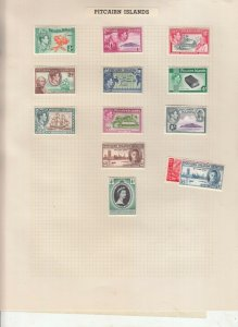 PITCAIRN ISLAND ALBUM PAGE  VALUES MOSTLY 1937-55, MOUNTED MINT