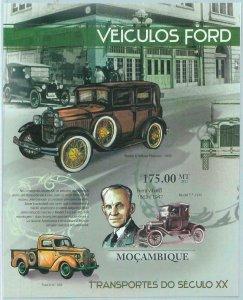 A1227 - MOZAMBIQUE, ERROR, IMPERF, Souvenir sheet: 2011, Henry Ford, Cars