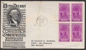 USA 1939 3c Washington's Inauguration FDC to New Zealand -  backstamped....55621