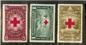 NICARAGUA C263-C265 MH SCV $3.65 BIN $1.75 RED CROSS