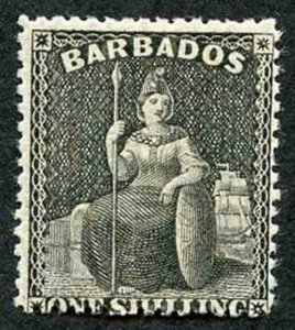 BARBADOS SG54 1/- Wmk Small Star Clean Cut Perf 14.5 to 15.5 SUPERB MINT
