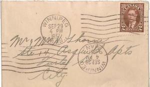 Canada 2c KGVI Mufti 1937 Winnipeg, Man. Small Envelope Local use.