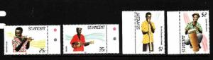 St. Vincent-Sc#845-8-Unused NH set-Musical Instruments-1985-