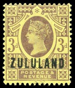 Zululand 1888 QV 3d purple/yellow very fine mint. SG 5. Sc 5.