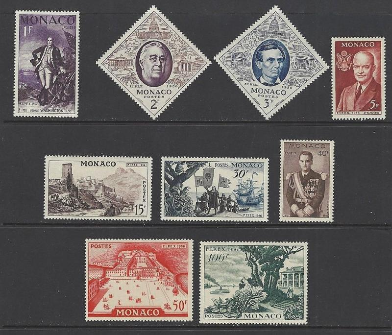 Monaco 1956 FDR Lincoln Washington VF MNH (354-62)