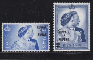 Kuwait Scott #'s 82 + 83 Set VF Mint lightly hinged  scv $ 46 ! see pic !