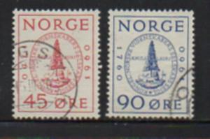 Norway Sc 380-1 1960 Science Soc Anniversary stamp set used