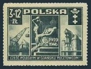 Poland B48,MNH.Mi 444. Polish postal employees killed in the German attack,1946.