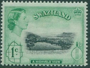 Swaziland 1961 SG79 1c black and green Highveld View QEII MLH