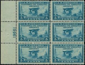 #650 LEFT SIDE PB #19661  1928 5 CENT AERONAUTICS ISSUE MINT-OG/NH