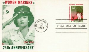 US FDC #UX56 Women marines, Cover Craft (9807)