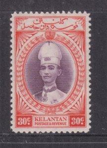 KELANTAN, 1937 Sultan Ismail, 30c. Violet & Scarlet, lhm.