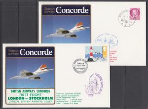 Concorde, 1985 First Flight Stockholm-London & Return First Flight, Matched set