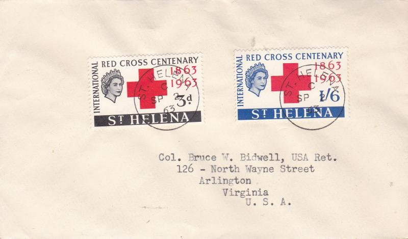 St. Helena 1963 Red Cross Centenary First Day Cover Typed Address Cachet VF