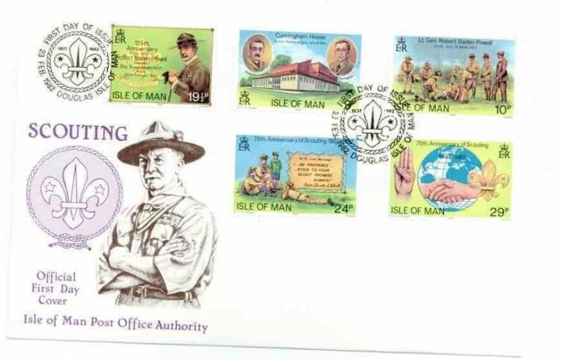 ISLE OF MAN 1982 207-11 SCOUTING FDC  BADEN POWELL 14995-1
