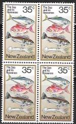 New Zealand #670 MNH Block. Resources - The Sea and its Recources.  Fish, Squid