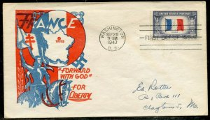 UNITED STATES 1943 FRANCE  FOUR COLOR  FIRST DAY COVER CACHETED & ADDRESSED