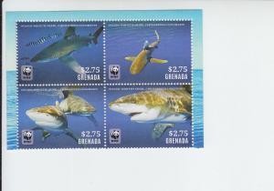 Grenada MNH Block 4021 White Tip Shark Marine Life 2015