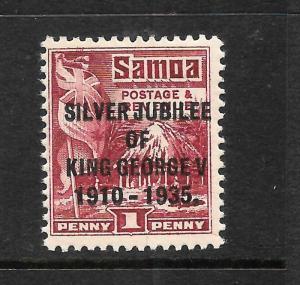 SAMOA  1935  1d  SILVER  JUBILEE    MLH  P14x14 1/2   SG 177a