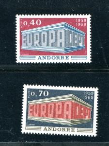 French  Andorra  Europa  1969 Mint VF NH - Lakeshore Philatelics