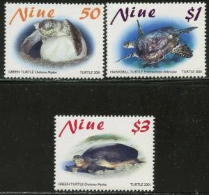 NIUE Sc#756-758 2001 Sea Turtles Complete Set OG Mint NH