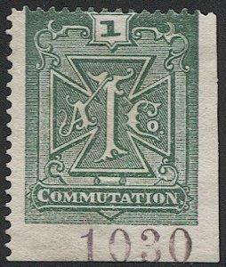 US 1888 Sc 2T1  Unused, 1c green Atlantic Telegraph  Co. stamp