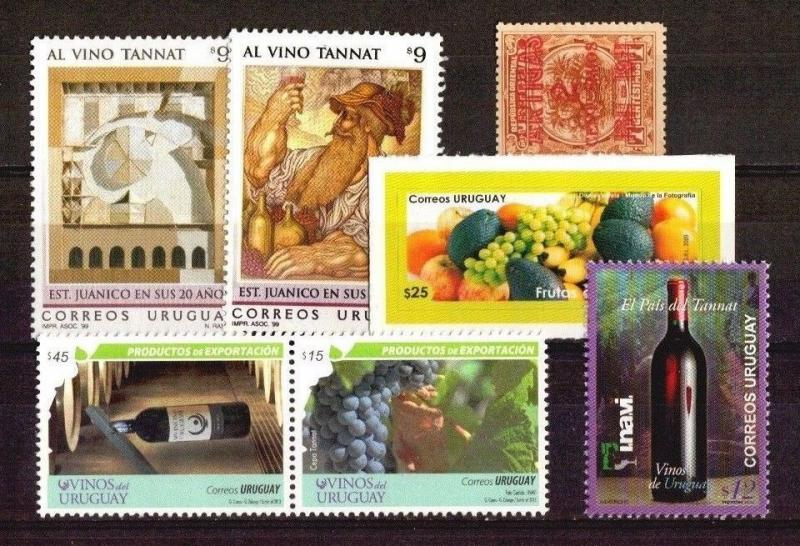 DISCOVER URUGUAY !  WINE VINES GRAPE FRUITS NATURAL FOOD STAMPS MNH