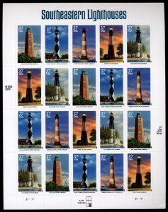 US Scott 3787-91 37 cents Southeastern Lighthouses  Mint NH pane of 20